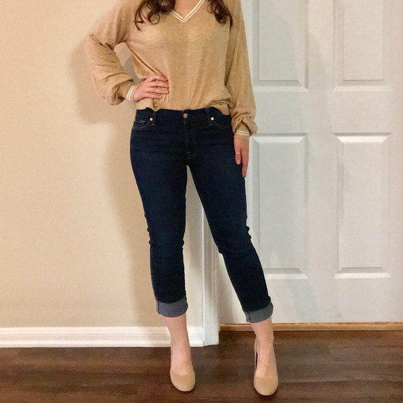 7 For All Mankind Denim - 7 for all Mankind Cropped Blue Jeans